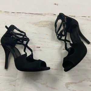 schutz black suede buckled peep toe stiletto